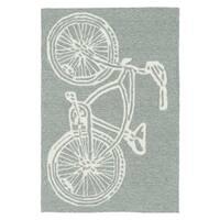 Indoor/ Outdoor Beachcomber Bicycle Grey Rug - 2' x 3'