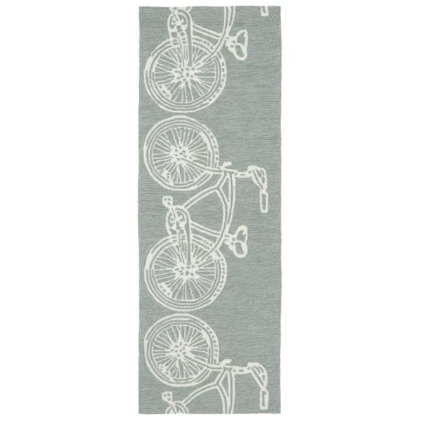 Indoor/ Outdoor Beachcomber Bicycle Grey Rug - 2' x 6'