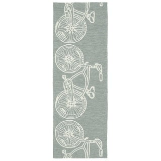 Indoor/ Outdoor Beachcomber Bicycle Grey Rug (2' x 6')