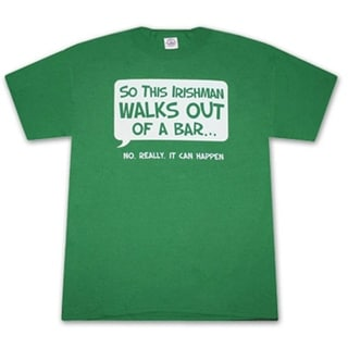 Irishman Walks Out Of A Bar Humor Green Cotton Graphic Tee Shirt
