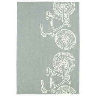 Indoor/ Outdoor Beachcomber Bicycle Grey Rug (3' x 5')