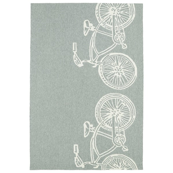 Indoor/ Outdoor Beachcomber Bicycle Grey Rug - 9' x 12'