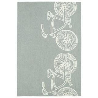 Indoor/ Outdoor Beachcomber Bicycle Grey Rug (9' x 12')