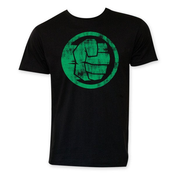 Hulk Mens Black Circle Logo Cotton Crewneck T-shirt