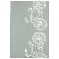 Indoor/ Outdoor Beachcomber Bicycle Grey Rug - 5' x 7'6