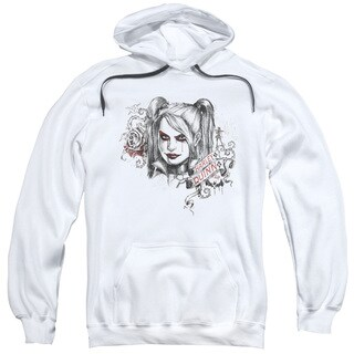 Batman Arkham Knight/Sketchy Girl White Adult Pullover Hoodie