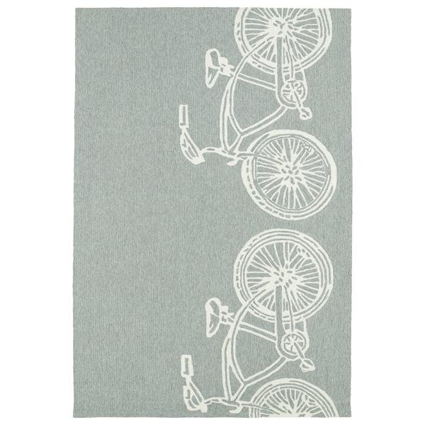 Indoor/ Outdoor Beachcomber Bicycle Grey Rug - 7'6 x 9'
