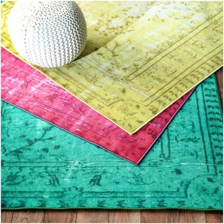 nuLOOM Vintage Inspired Overdyed Rug in Turquoise (8' x 10') (As Is Item)