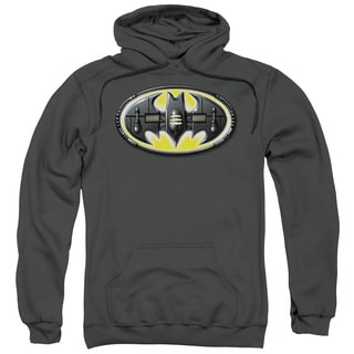 Batman/Bat Mech Logo Adult Pull-Over Hoodie in Charcoal