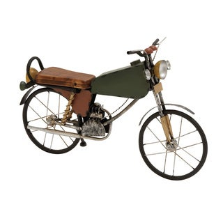 Contemporary Styled Metal Wood Motorcycle