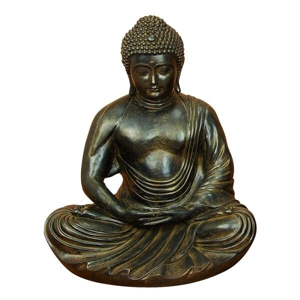 Grey/Brown Polystone Buddha 24 Inches High