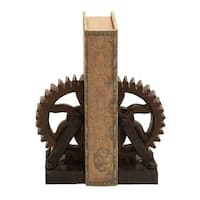Carbon Loft Ferris Rusted Gear Themed Book End Set