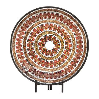 Stunning Metal Mosaic Red Platter With Easel