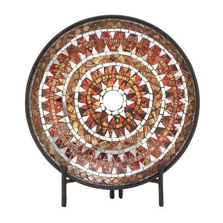 Striking Metal Mosaic Red Platter With Easel