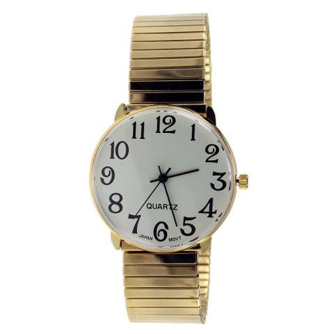 Men's Easy Read Gold Stretch Band Watch White Dial