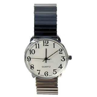 Men's Easy Read Silver Stretch Band Watch White Dial