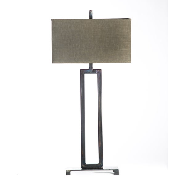 Open Art Deco Natural Hand Forged Iron Table Lamp