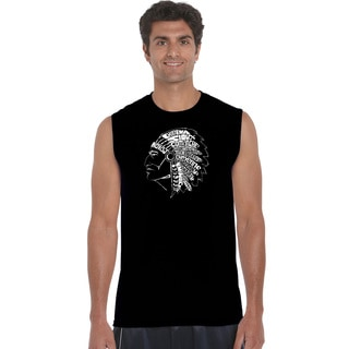 Men's Black Cotton Native American Tribes Sleeveless T-shirt