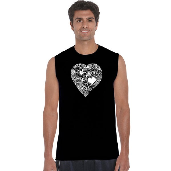 Mens Love in 44 Different Languages Sleeveless T-shirt