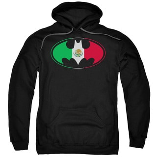 Batman/Mexican Flag Shield Black Cotton Polyester Adult Pull-over Hoodie