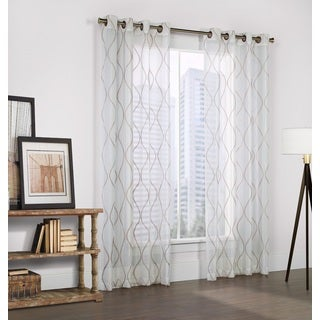 Crystal Embroidered White Faux-linen Curtain Panel