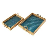 The Curated Nomad Belli Mosaic Turquoise Rope Tray (Set of 2)