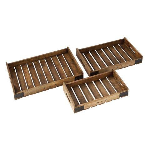 Carbon Loft Priscilla Wood Metal Tray (Set of 3)
