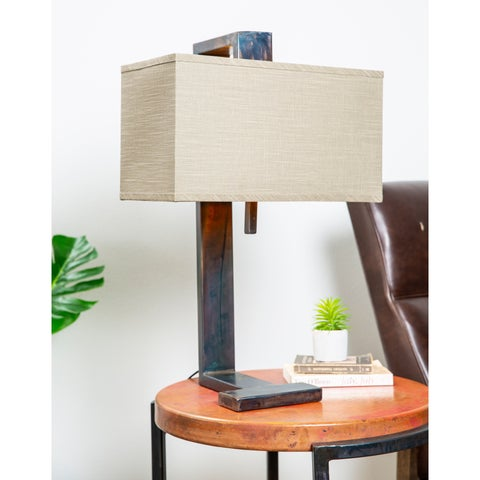 Natural Hand Forged Iron Table Lamp w/ Hanging Rectangle Gray/Gold Shade