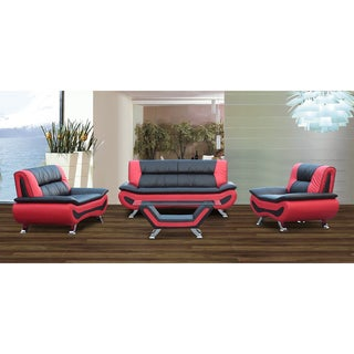 Arianna Red/Black Bonded Leather 4-piece Modern Living Room Sofa Set With Coffee Table