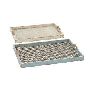Classy Patterned And Designed Wood Fabric Tray (Set Of 2)