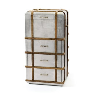 Hip Vintage Silver Wood Steamer Chest