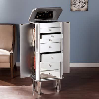 SEI Furniture Millicent Silver Mirrored Jewelry Armoire