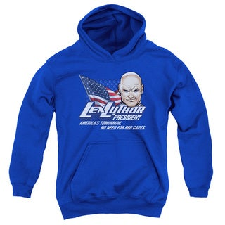 Youth Royal Blue Cotton and Polyester Superman Pull-over Hoodie