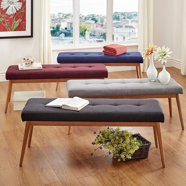 Mid Century Living Sasha Oak Angled Leg Linen Bench