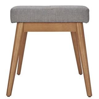Sasha Oak Angled Leg Linen Bench by MID-CENTURY LIVING