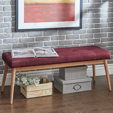 Sasha Oak Angled Leg Linen Dining Bench iNSPIRE Q Modern