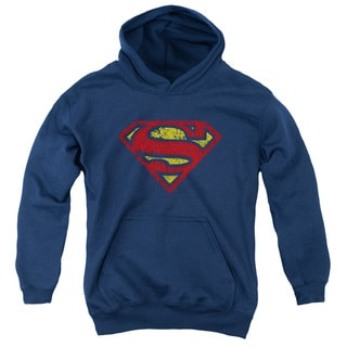 Superman Youth Crackle S Navy Cotton/Polyester Pullover Hoodie
