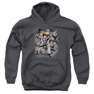 Superman/Break on Through Youth Charcoal Pull-over Hoodie