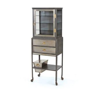 Hip Vintage Dapper Brass Iron and Glass Showcase