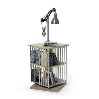 Hip Vintage Silver Stainless Steel Rotating Periodical Rack