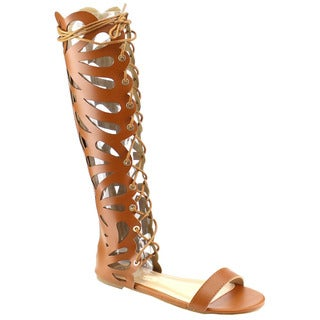 Beston Eb69 Knee High Flat Gladiator Sandals