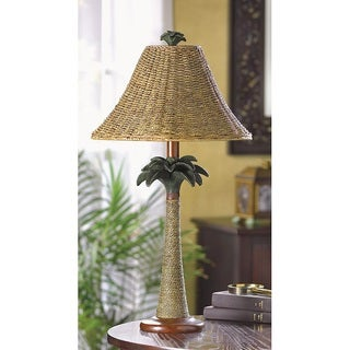 Modern Brown Polyresin and Rattan Base with Woven Shade Palm Table Lamp
