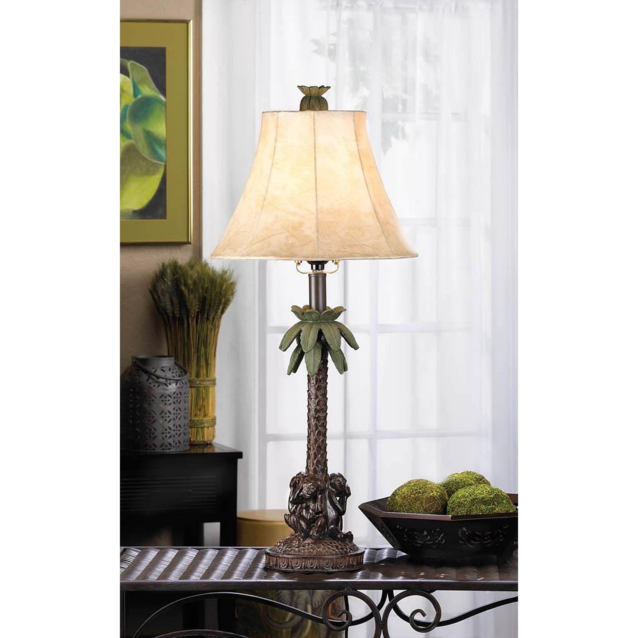 Florida Monkey Base Table Lamp, Brown (Fabric)