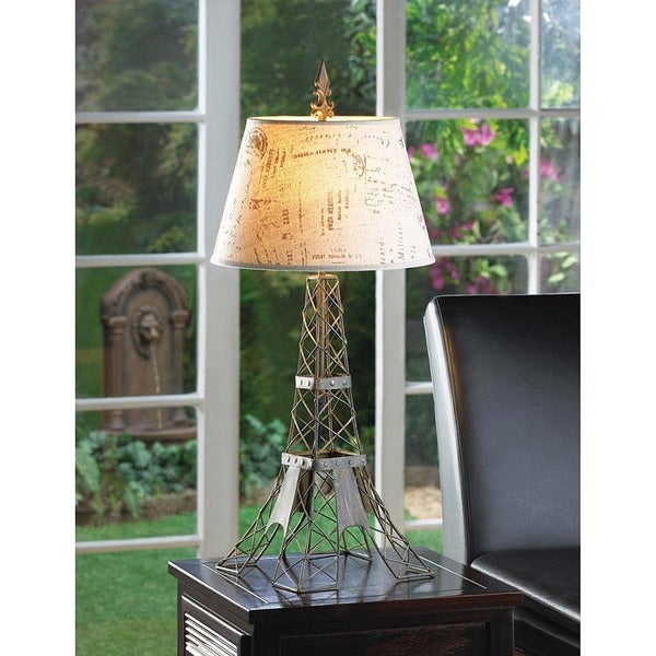 Eiffel Tower Metalwork Table Lamp with Linen Typography Lampshade