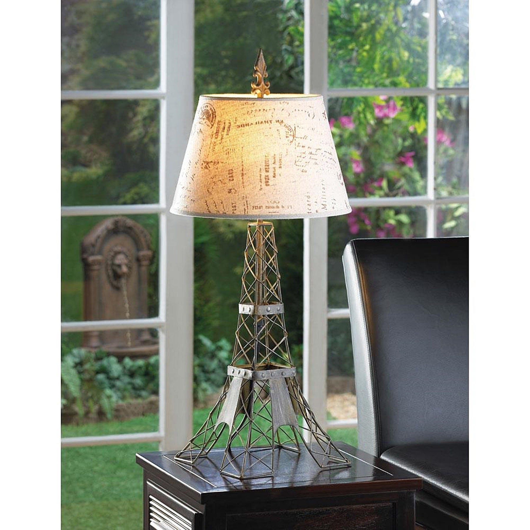 Eiffel Tower Metalwork Table Lamp with Linen Typography L...