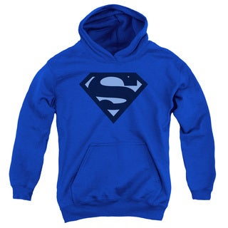 Superman Youth's Blue Shield Royal Blue Cotton/Polyester Pullover Hoodie
