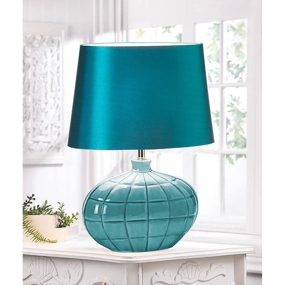 Square-Designed Teal Table Lamp (Square-Designed Teal Col...
