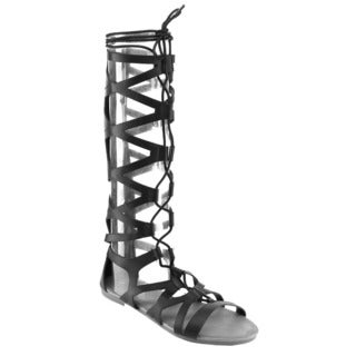 Anna Gladiator-16 Knee High Flat Gladiator Sandals