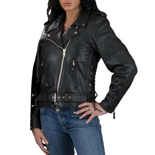 Women's Full Black Leather Motorcycle Jacket (More options available)