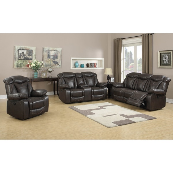 dark brown air leather 3 piece living room gliding reclining sofa set